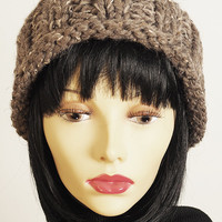 Crochet hat - Hand knit hat - Chunky knit - Taupe hat - Brown hat - Knit beanie - Woman winter hat - Teen girl hat - Knit Cloche