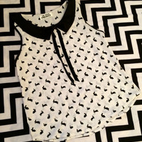 Black and White Bouncing Bunny Sleeveless Blouse