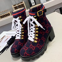 GUCCI New Plush Embroidered Letters Ladies High-Top Boots Shoes Dark blue