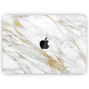 """Marble & Digital Gold Foil V4 - Skin Decal Wrap Kit Compatible with the Apple MacBook Pro, Pro with Touch Bar or Air (11"""", 12"""", 13"""", 15"""" & 16"""" - All Versions Available)"""