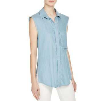 N Nicholas Womens Chambray Frayed Trim Button-Down Top