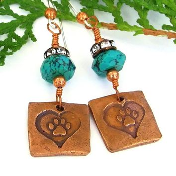 Dog Paw Print in Heart and Turquoise Earrings, Crystal Artisan Handmade Dangle Jewelry