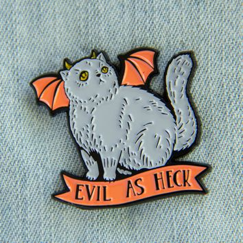 """Evil As Heck"" Devil Cat Enamel Pin"