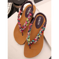Colorful Braided Flat Sandals BT0506
