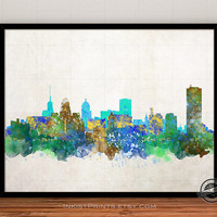 Buffalo Skyline Watercolor Poster, New York Print, Cityscape, City Painting, State, Illustration Art Paint, Giclee Wall, Home Decor