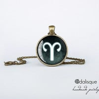 Aries sign pendant European Zodiac necklace the ram fire sign gift jewelry bronze for him for her jewellery key ring