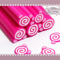 Pink Roll Cake Polymer Clay Cane / Fimo Cane Stick For Nail Art Decoration Miniature Food / Dessert / Cake Decoration F002
