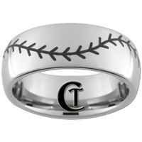 8mm Tungsten Carbide Band Dome Baseball Stitch Ring Sizes 4-17