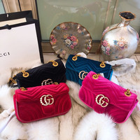GG Marmont velvet mini bag - pearl Double G