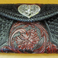 Hand Crafted Carved Leather Clutch Purse by StandingBears on Etsy