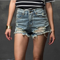 Fashion 2015 Summer Women New High Waist Denim Shorts Frayed Hole Female Super Cool Flash Shorts short shorts  XS-XL