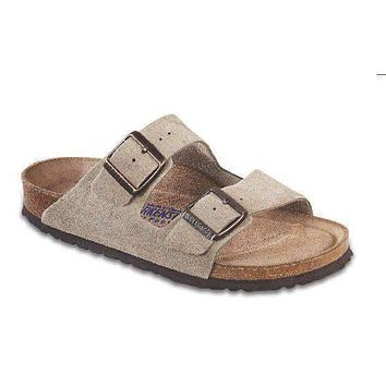 Men's Arizona Sandal in Taupe Suede with Soft Footbed by Birkenstock