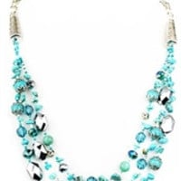 Turquoise and Silver Bead Multilayer Necklace