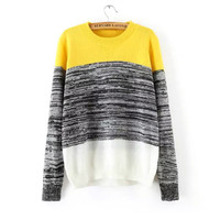 Pullover Knit Tops Stripes Slim Sweater [9456548996]