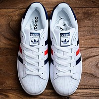 ADIDAS Super star Classic Shell Toes White dark blue red blue