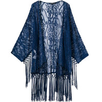 Summer Hollow Out Lace Tassels Patchwork Jacket Scarf Tops Rashguard [4997904772]