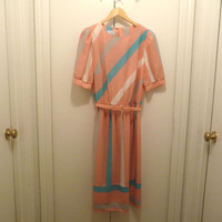 Lorac Orginal Retro Coral and Teal Striped Dress with Belt