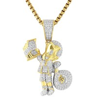 Iced Out Cartoon With Dollar Money Bag Silver Pendant Chain