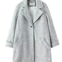 Notched Collar Long Sleeve Woolen Coat With Pockets