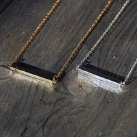 Brushed gold plated & silver tiny bar pendant with chain, necklace (NE00003)
