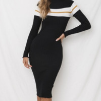 Best selling sweater women's three-color pit strip dress Knit sweater skirt