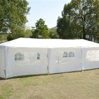 Outsunny 10' x 30' Party Gazebo Tent with 8 Walls - White