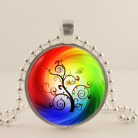 "Rainbow tree, 1"" round glass and metal Pendant necklace Jewelry."