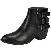 Womens Ankle Boots Stacked Buckle Faux Zipper Low Heel Shoes Black SZ