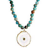 Turquoise Geode Necklace, Pendant Necklaces