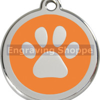 Orange Paw Print Enamel and Stainless Steel Personalized Custom Pet Tag with LIFETIME GUARANTEE ID Tag Dog Tags and Cat Tags Free Engraving