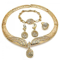 Gold Layered 06.288.0014 Necklace, Bracelet, Earring and Ring, with White Crystal, Polished Finish, Golden Tone