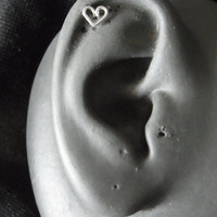 Tragus / Cartilage Earring Sterling silver heart with butterfly backing