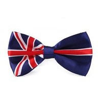 HDE Classic Pre Tied Polyester Bowtie - British Flag