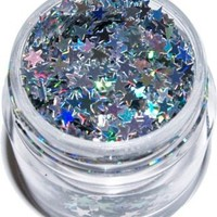 "Silver Movie Stars Dazzlers Die Cut 1/8"" Shapes Glitter 1 Oz. Jar (D45)"