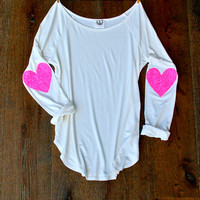 Sequin Heart Elbow Patch Dazzle Patch Slouchy Pullover T Shirt in Ivory  Heart Sequin Patch Womens Holiday Shirt Valentines Day Gift Idea