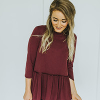 Ruffle Neck Peplum in Wine