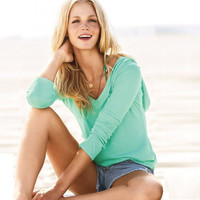 Mint Green V Neck Hoodie Sweater