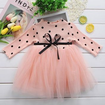 Long Sleeve Dotted Baby Girl Dress