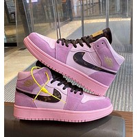 LV Louis Vuitton NIKE AIR Jordan 1 aj1 Plush high top shoes air force women's shoes AJ sports casual shoes