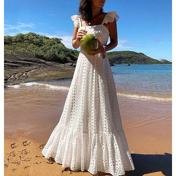 New fashion women's slings with large color lace dress