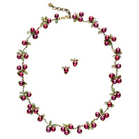 Cranberry Necklace and Earrings Set