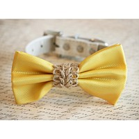 Yellow wedding dog bow tie collar, Country wedding, Beach Rustic wedding , Wedding dog collar