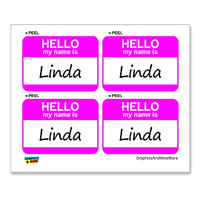 Linda Hello My Name Is - Sheet of 4 Stickers