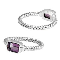 """SR-5365-AM-6"""" Sterling Silver Ring With Amethyst"""