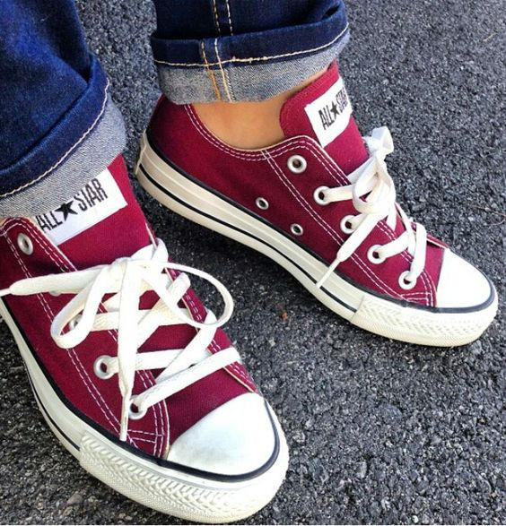 """Image of """"Converse"""" Fashion Canvas Flats Sneakers Sport Shoes Low tops Wine red"""