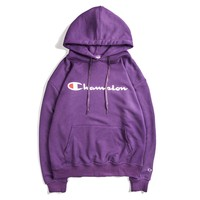 Champion new hooded men's hooded sweatshirts men's and women's thin hand-lettered sweaters