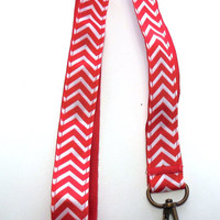 Red and White Striped, Chevron Ribbon Lanyard, Key Holder, ID Holder