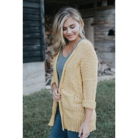 Long Sleeve Knit Cardigan, Mustard