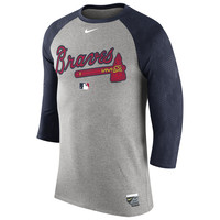 Nike Atlanta Braves Gray Authentic Collection Legend Three-Quarter Sleeve Raglan T-Shirt