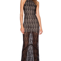 Black Halter Backless Lace Fish Scale Pattern Maxi Dress
